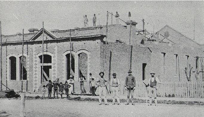 Public Hall under construction in 1883